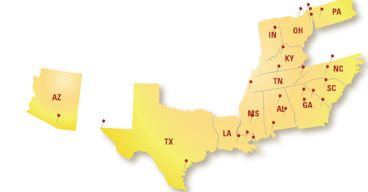Map of Pull-A-Part retail locations in the United States.