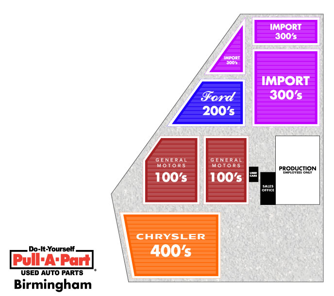 Download a map of Pull-A-Part's junkyard in Birmingham