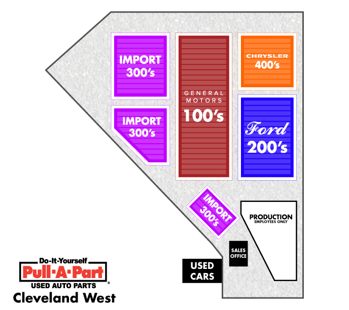 image of a map of the Pull-A-Part's junkyard in Cleveland
