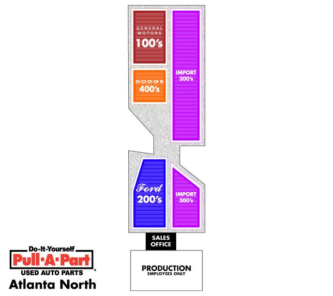 Pull-A-Part Atlanta Yard Map