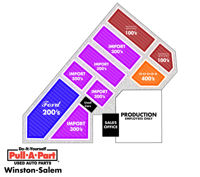 Pull-A-Part Winston-Salem Yard Map