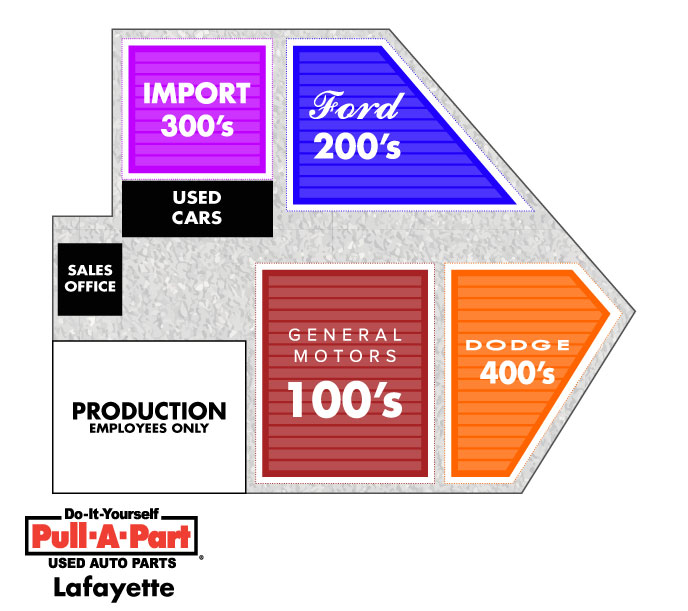 Pull-A-Part Lafayette Yard Map