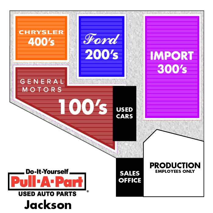 Pull-A-Part Jackson Yard Map.