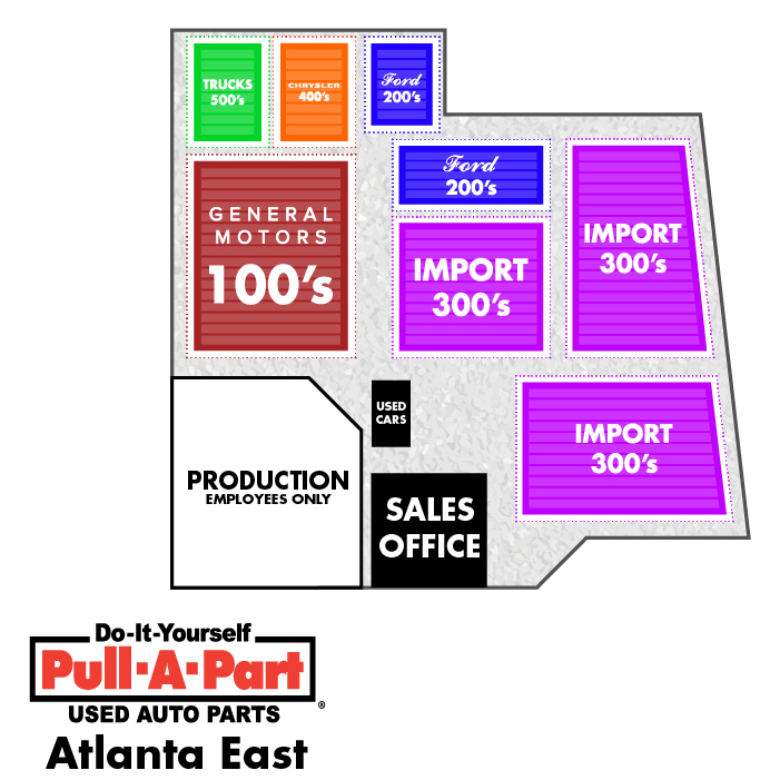 Yard Map for Pull-A-Part Atlanta East
