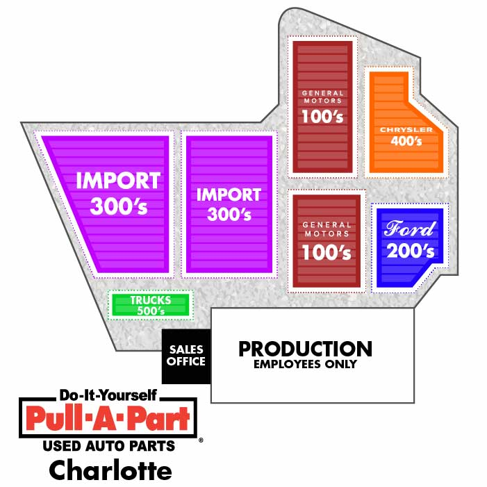 Map of Pull-A-Part's junkyard in Charlotte