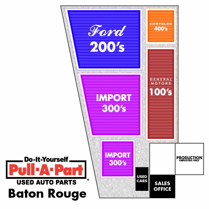 Yard map for Pull-A-Part Baton Rouge