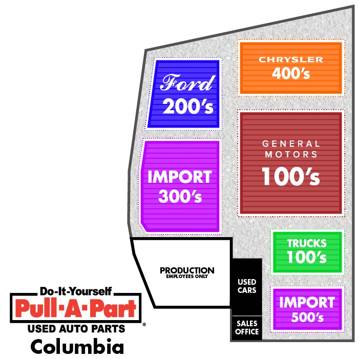 Pull-A-Part Columbia yard map